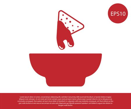Red Nachos in plate icon isolated on white background. Tortilla chips or nachos tortillas. Traditional mexican fast food. Vector Illustration 向量圖像
