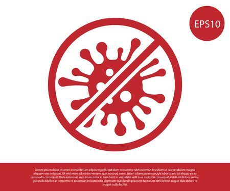 Red Stop virus, bacteria, germs and microbe icon isolated on white background. Antibacterial and antiviral defence, protection infection. Vector Illustration