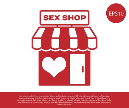 Red Sex shop building with striped awning icon isolated on white background. Sex shop, online sex store, adult erotic products concept. Vector Illustration