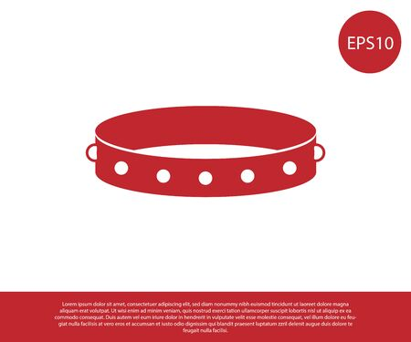 Red Leather fetish collar with metal spikes on surface icon isolated on white background. Fetish accessory. Sex toy for men and woman. Vector Illustration