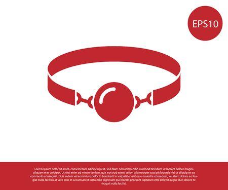 Bavaglio a sfera in silicone rosso con un'icona di cintura in pelle isolata su sfondo bianco. Accessorio fetish. Giocattolo del sesso per uomini e donne. illustrazione vettoriale