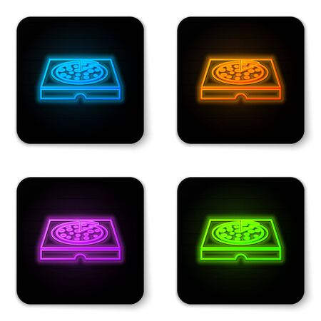 Glowing neon Pizza in cardboard box icon isolated on white background. Box with layout elements. Black square button. Vector Illustration