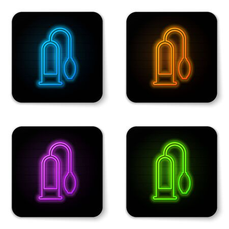 Glowing neon pump icon isolated on white background. Penis enlarger. Sex toy for men. Vacuum pump with a blower to increase the penis. Black square button. Vector Illustration