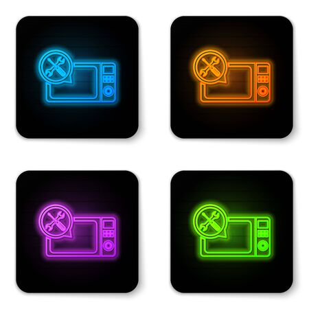 Glowing neon Microwave oven with screwdriver and wrench icon isolated on white background. Adjusting, service, setting, maintenance, repair, fixing. Black square button. Vector Illustration