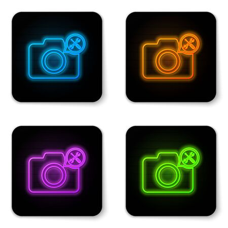 Glowing neon Photo camera with screwdriver and wrench icon isolated on white background. Adjusting, service, setting, maintenance, repair, fixing. Black square button. Vector Illustration