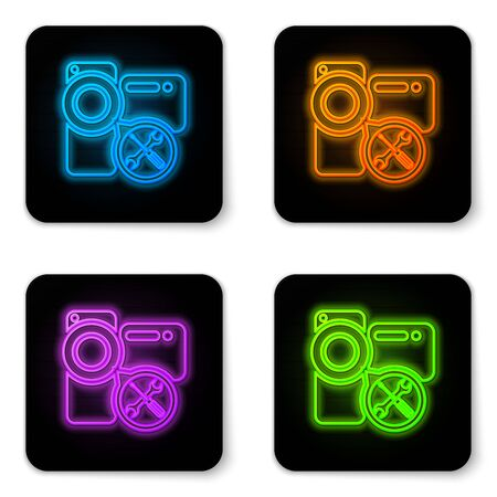 Glowing neon Video camera with screwdriver and wrench icon isolated on white background. Adjusting, service, setting, maintenance, repair, fixing. Black square button. Vector Illustration Illustration