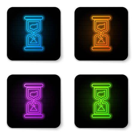 Glowing neon Old hourglass with flowing sand icon isolated on white background. Sand clock sign. Business and time management concept. Black square button. Vector Illustration