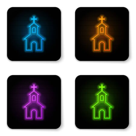 Glowing neon Church building icon isolated on white background. Christian Church. Religion of church. Black square button. Vector Illustration