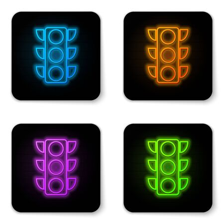 Glowing neon Traffic light icon isolated on white background. Black square button. Vector Illustration