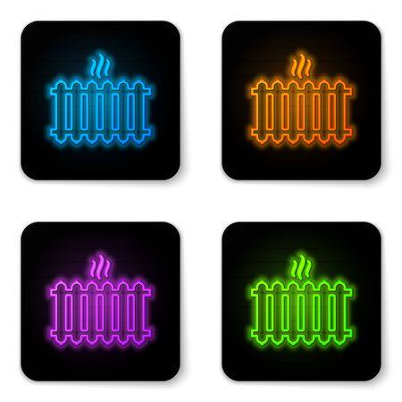 Glühende Neon-Heizkörper-Symbol isoliert auf weißem Hintergrund. Schwarzes Quadrat-Taste. Vektorillustration Vektorgrafik