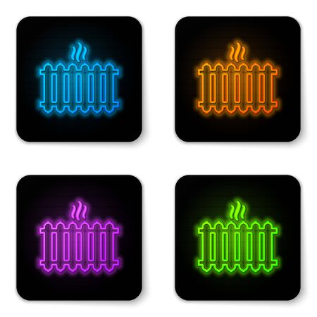 Glowing neon Heating radiator icon isolated on white background. Black square button. Vector Illustration