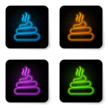 Glowing neon Shit icon isolated on white background. Black square button. Vector Illustration Ilustração