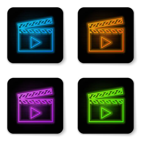Glowing neon Movie clapper icon isolated on white background. Film clapper board icon. Clapperboard sign. Cinema production or media industry concept. Black square button. Vector Illustration