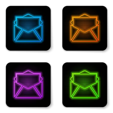 Glowing neon Mail and e-mail icon isolated on white background. Envelope symbol e-mail. Email message sign. Black square button. Vector Illustration Illustration