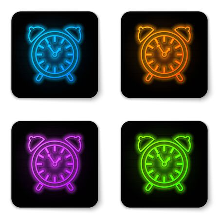 Glowing neon Alarm clock icon isolated on white background. Wake up, get up concept. Time sign. Black square button. Vector Illustration