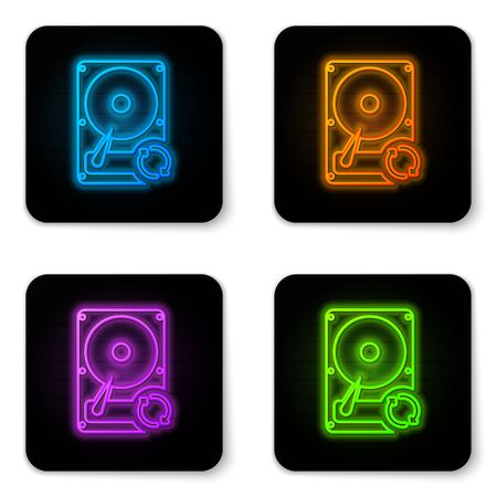 Glowing neon Hard disk drive HDD sync refresh icon isolated on white background. Black square button. Vector Illustration Illustration