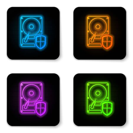 Glowing neon Hard disk drive HDD protection icon isolated on white background. Black square button. Vector Illustration