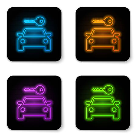 Glowing neon Car rental icon isolated on white background. Rent a car sign. Key with car. Concept for automobile repair service, spare parts store. Black square button. Vector Illustration