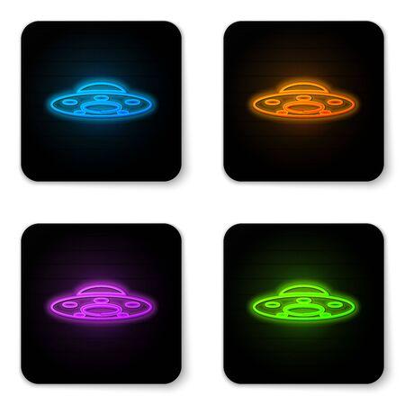 Icône de vaisseau spatial volant UFO néon lumineux isolé sur fond blanc. Soucoupe volante. Vaisseau spatial extraterrestre. Objet volant inconnu futuriste. Bouton carré noir. Illustration vectorielle