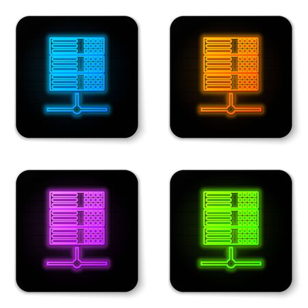 Glowing neon Server, Data, Web Hosting icon isolated on white background. Black square button. Vector Illustration
