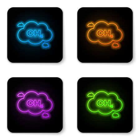 Glowing neon Methane emissions reduction icon isolated on white background. CH4 molecule model and chemical formula. Marsh gas. Natural gas. Black square button. Vector Illustration Vectores