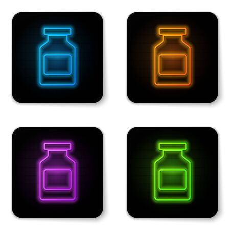 Glowing neon Medicine bottle icon isolated on white background. Bottle pill sign. Pharmacy design. Black square button. Vector Illustration