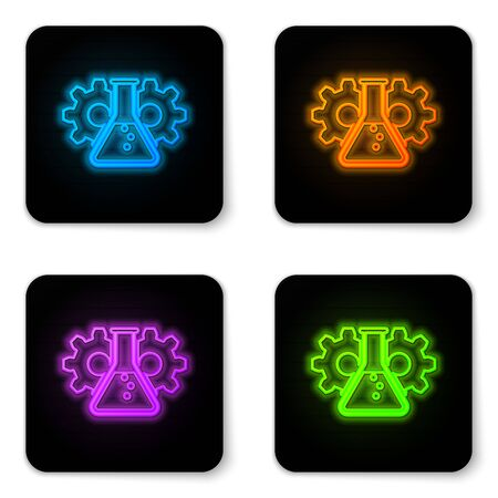 Glowing neon Bioengineering icon isolated on white background. Element of genetics and bioengineering icon. Biology, molecule, chemical icon. Black square button. Vector Illustration Illustration