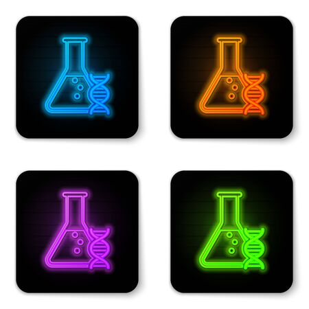 Glowing neon DNA research, search icon isolated on white background. Genetic engineering, genetics testing, cloning, paternity testing. Black square button. Vector Illustration Ilustração
