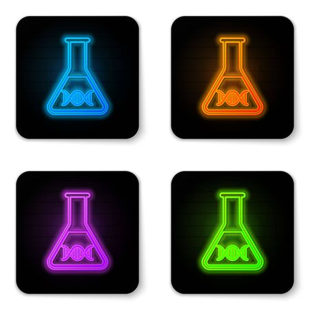Glowing neon DNA research, search icon isolated on white background. Genetic engineering, genetics testing, cloning, paternity testing. Black square button. Vector Illustration