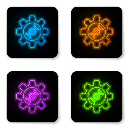 Glowing neon Genetic engineering icon isolated on white background. DNA analysis, genetics testing, cloning, paternity testing. Black square button. Vector Illustration