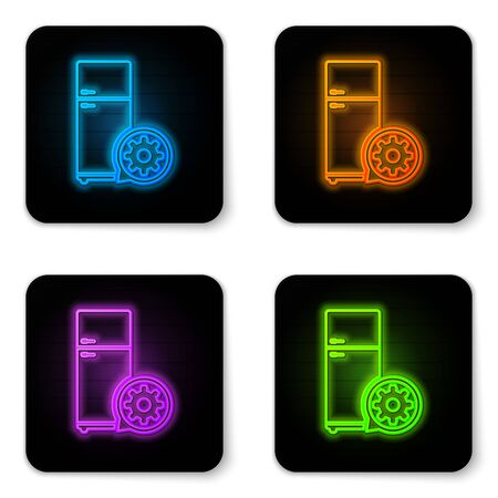 Glowing neon Refrigerator and gear icon isolated on white background. Adjusting app, service concept, setting options, maintenance, repair, fixing. Black square button. Vector Illustration