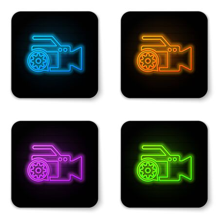Glowing neon Video camera and gear icon isolated on white background. Adjusting app, service concept, setting options, maintenance, repair, fixing. Black square button. Vector Illustration