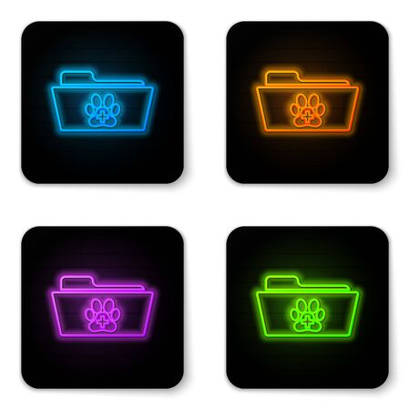 Glowing neon Medical veterinary record folder icon isolated on white background. Dog or cat paw print. Document for pet. Patient file icon. Black square button. Vector Illustration