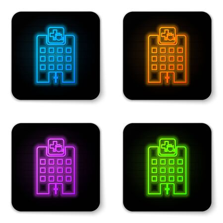 Glowing neon Veterinary medicine hospital, clinic or pet shop for animals icon isolated on white background. Vet or veterinarian clinic. Black square button. Vector Illustration