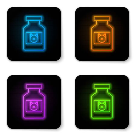 Glowing neon Dog medicine bottle icon isolated on white background. Container with pills. Prescription medicine for animal. Black square button. Vector Illustration