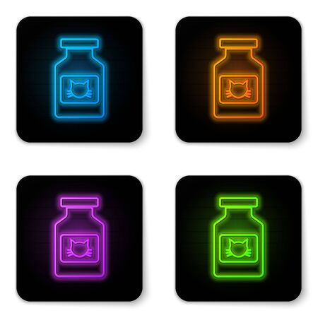 Glowing neon Cat medicine bottle icon isolated on white background. Container with pills. Prescription medicine for animal. Black square button. Vector Illustration Illustration