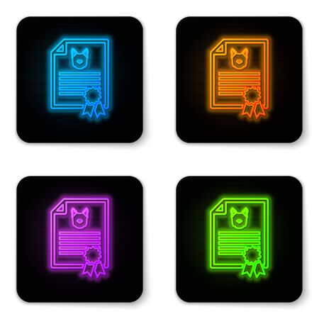 Glowing neon Medical certificate for travel with dog or cat icon isolated on white background. Document for pet. Dog or cat paw print. Black square button. Vector Illustration