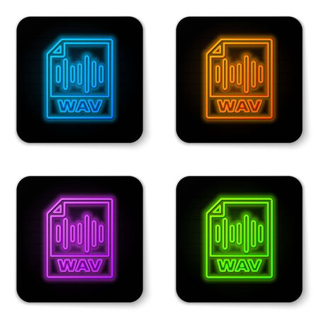 Glowing neon WAV file document icon. Download wav button icon isolated on white background. WAV waveform audio file format for digital audio riff files. Black square button. Vector Illustration
