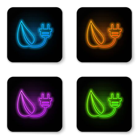 Glowing neon Electric saving plug in leaf icon isolated on white background. Save energy electricity icon. Environmental protection icon. Bio energy. Black square button. Vector Illustration