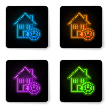 Glowing neon Smart home icon isolated on white background. Remote control. Black square button. Vector Illustration Çizim