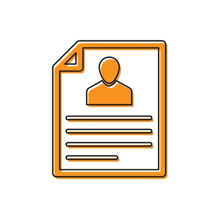 Orange Resume icon isolated on white background. CV application. Searching professional staff. Analyzing personnel resume. Vector Illustration