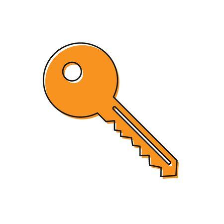 Orange Key icon isolated on white background. Flat design. Vector Illustration