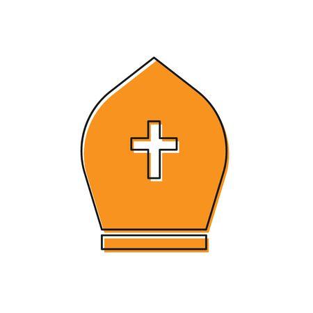Orange Pope hat icon isolated on white background. Christian hat sign. Flat design. Vector Illustration  イラスト・ベクター素材
