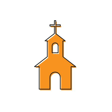 Orange Church building icon isolated on white background. Christian Church. Religion of church. Vector Illustration