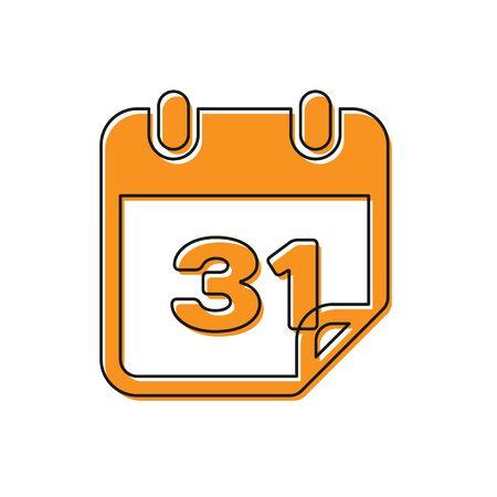 Orange Calendar icon isolated on white background. Vector Illustration Stock Illustratie