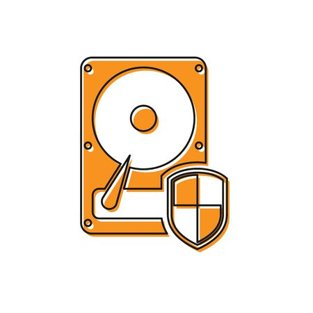 Orange Hard disk drive HDD protection icon isolated on white background. Vector Illustration