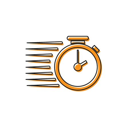 Orange Stopwatch icon isolated on white background. Time timer sign. Vector Illustration
