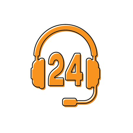 Orange Headphone for support or service icon on white background. Concept of consultation, hotline, call center, faq, maintenance, assistance. Vector Illustration