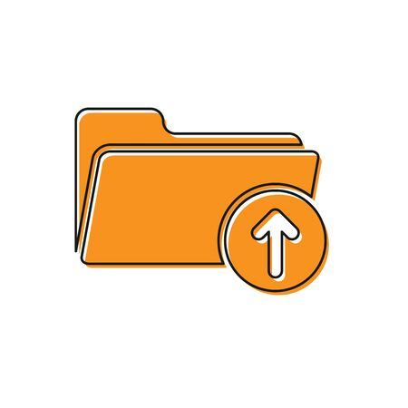 Orange Download arrow with folder icon isolated on white background. Vector Illustration