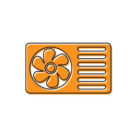 Orange Air conditioner with fresh air icon isolated on white background. Split system air conditioning sign. Cool and cold climate control system. Vector Illustration Illustration